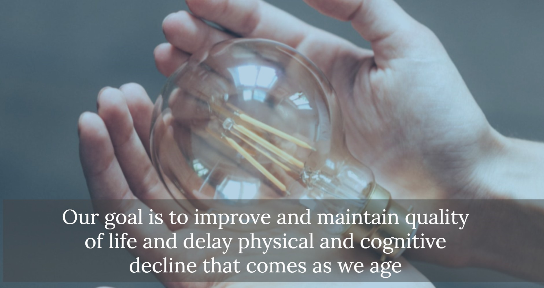 Hands holding lightbulb. Text: Our goal is to improve and maintain quality of life and delay physical and cognitive decline that comes as we age.